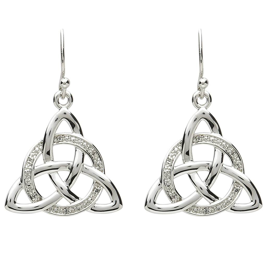 Shanore Earrings: Platinum Triquetra