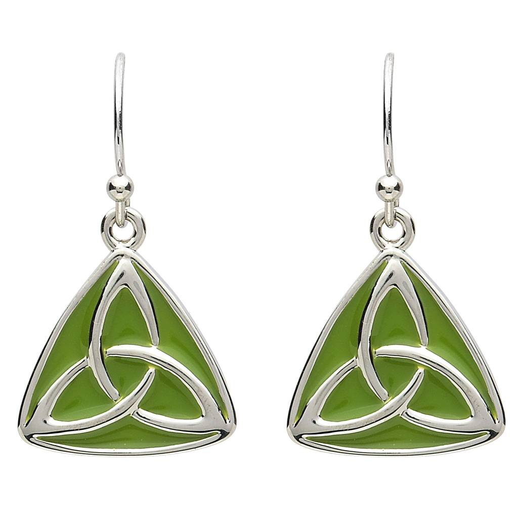 Shanore Earrings: Platinum Triquetra