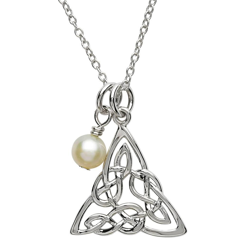 Pendant: Platinum Celtic Knot w/Pearl