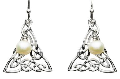 Earrings: Platinum Celtic Knot w/Pearl