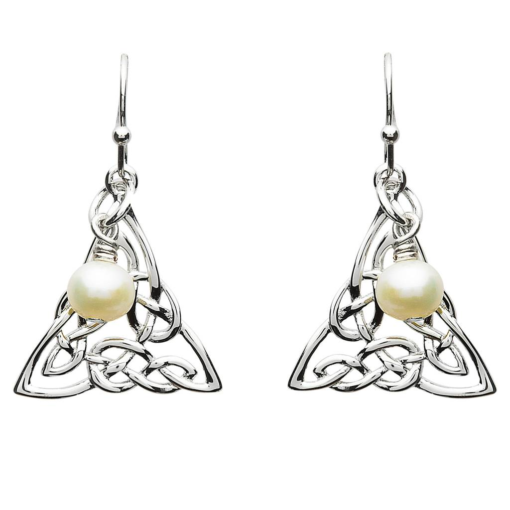 Shanore Earrings: Platinum Celtic Knot w/Pearl