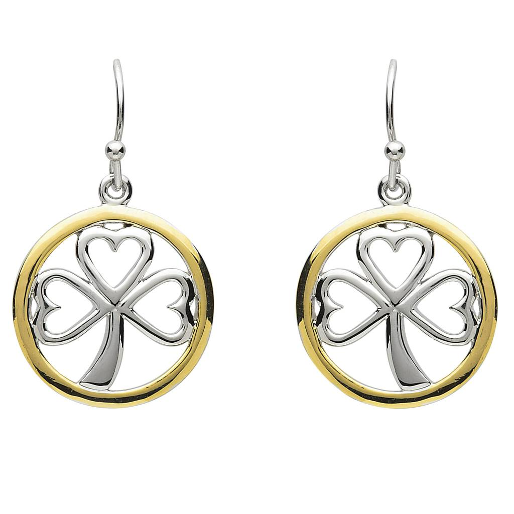 Shanore Earrings: Platinum Shamrock