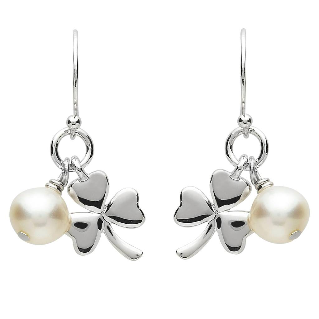 Shanore Earrings: Platinum Shamrock