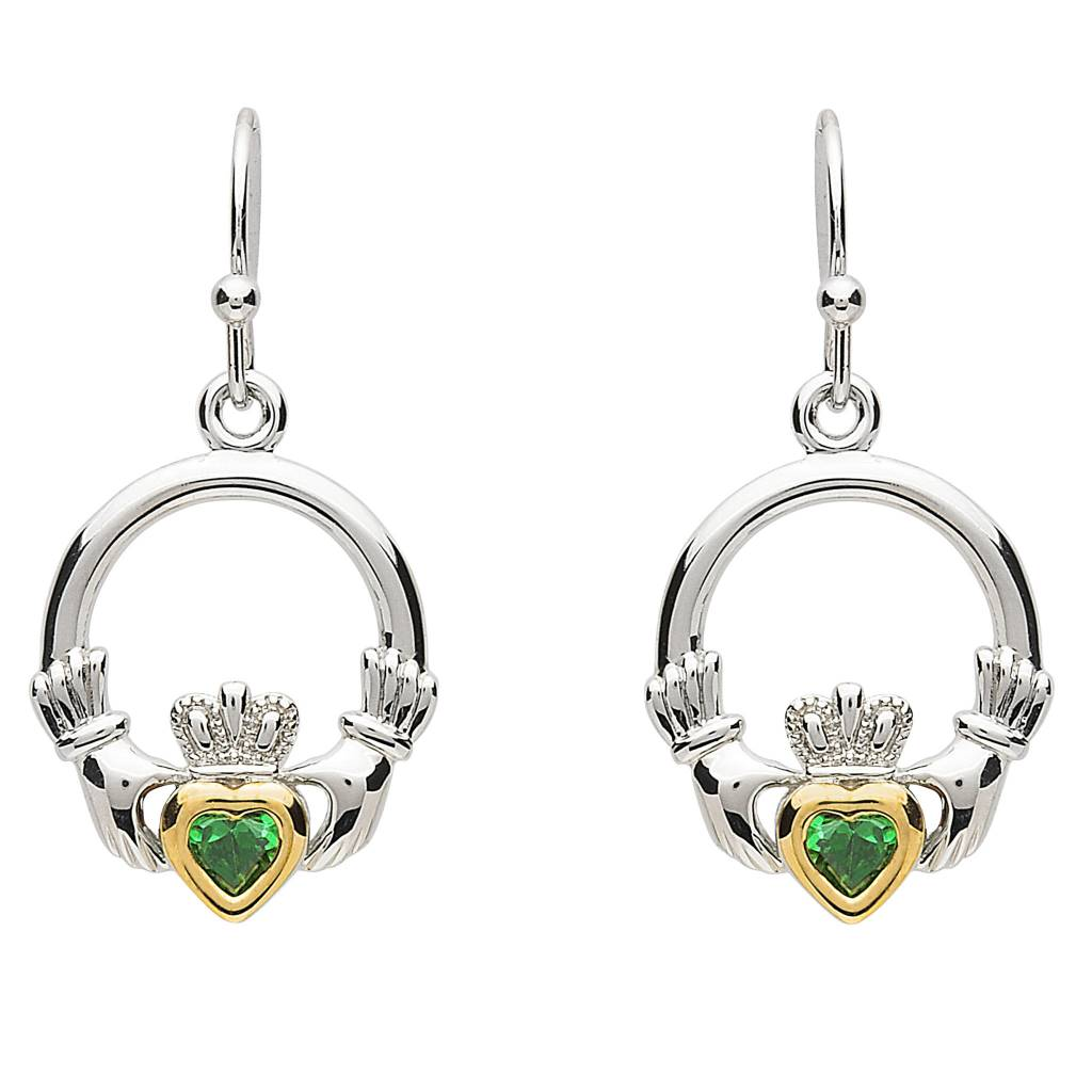 Earrings: Platinum Claddagh Green CZ