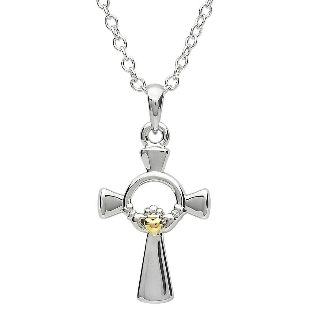 Pendant: Platinum Claddagh Cross