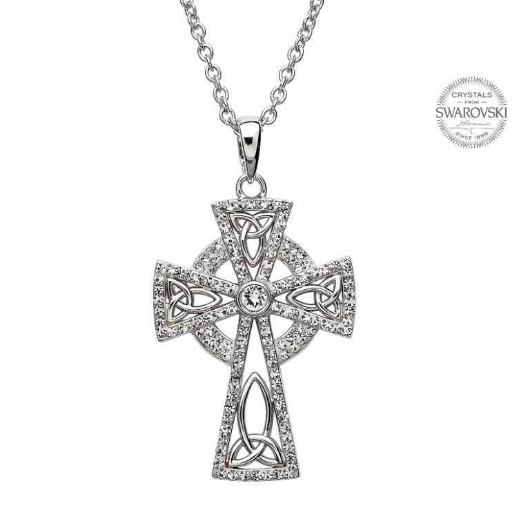 Shanore Pendant: SS Celtic Cross White Swarovski
