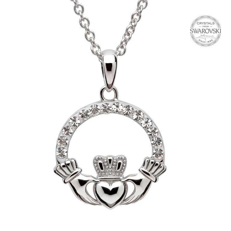 Shanore Pendant: SS Claddagh White Swarovski