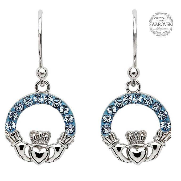 Shanore Earring: SS Claddagh Saphire Swarovski