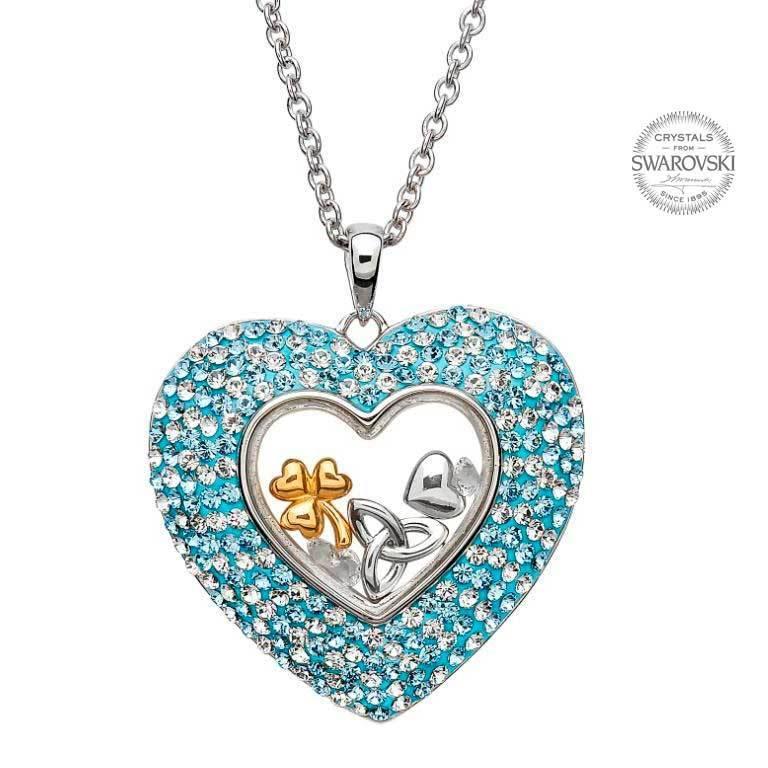 Shanore Pendant: SS Heart Aqua Swarovski