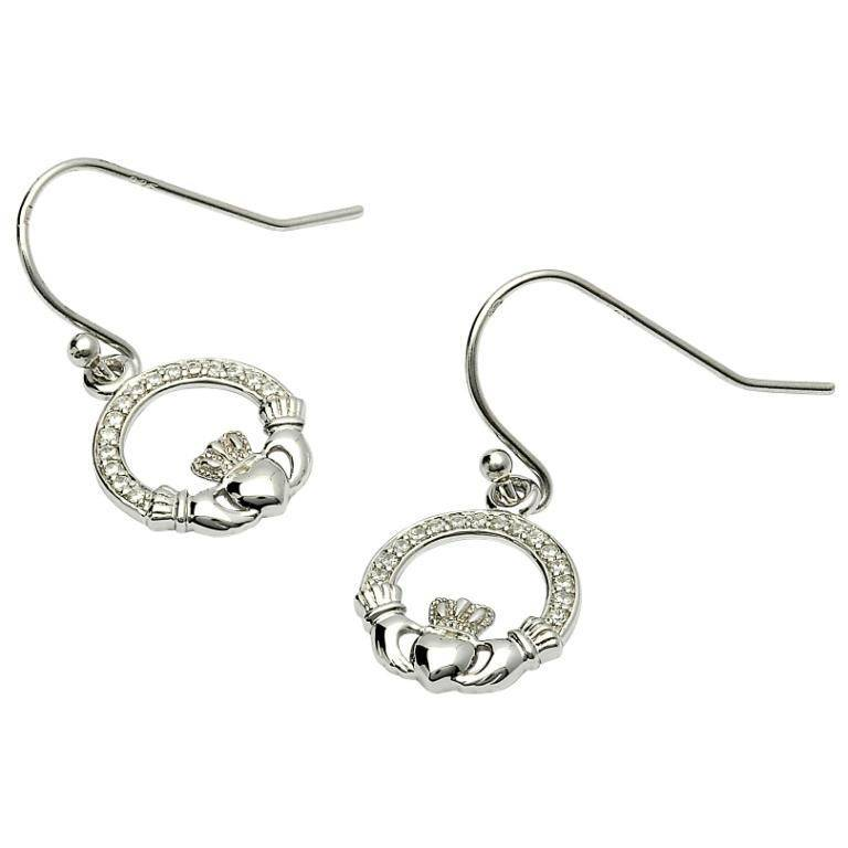Shanore Earring: SS Pave Set Claddagh