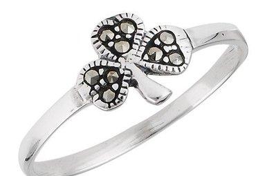 Ring: Shamrock, Marcasite, SS