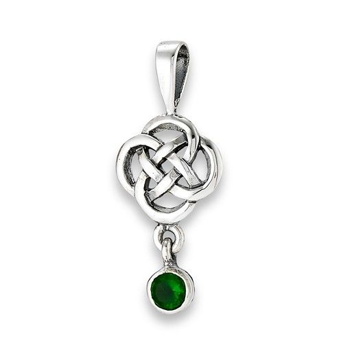 Pendant: SS Celtic Knot, Green CZ Dangle WE9364