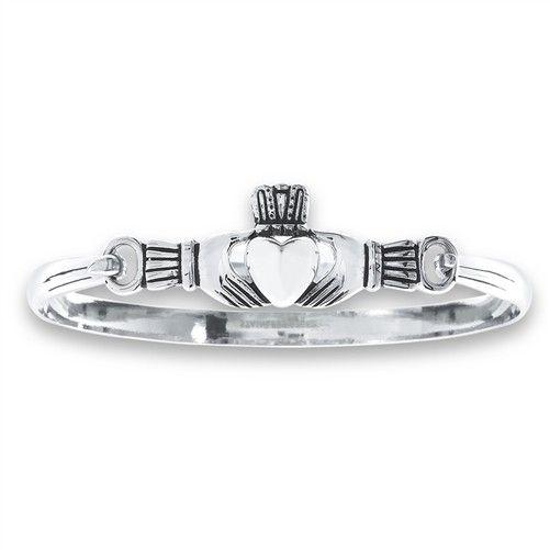 Welman Bracelet: Sterling Bangle Claddagh WE01025