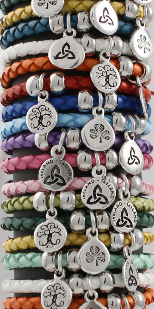 Leather Bracelet: Colored Leather Braid, Thin