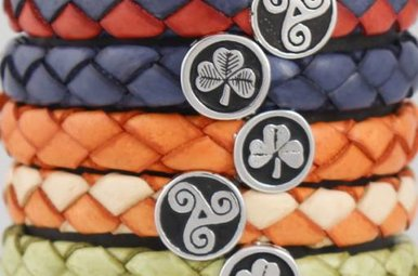 Bracelet: Colored Leather Braid, Wide