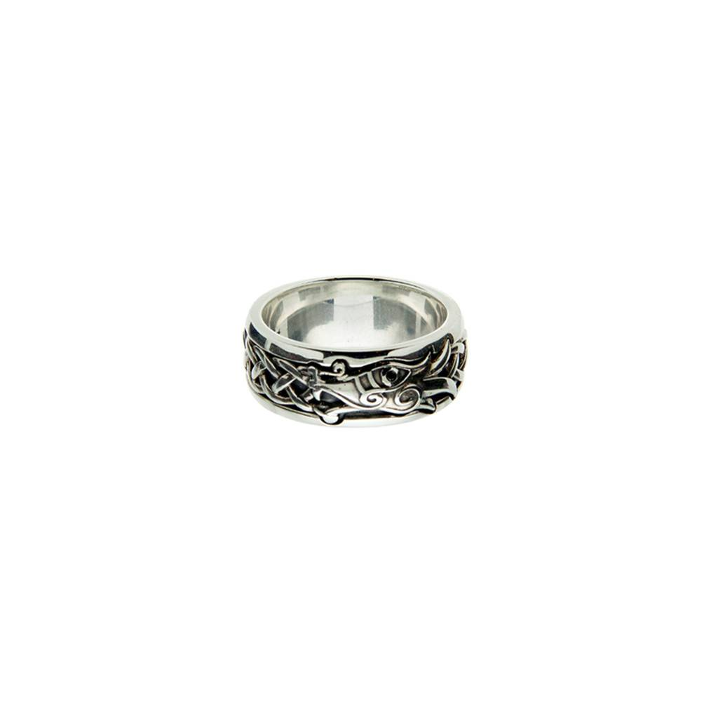 Keith Jack Ring: Sterling Silver/Black Dragon