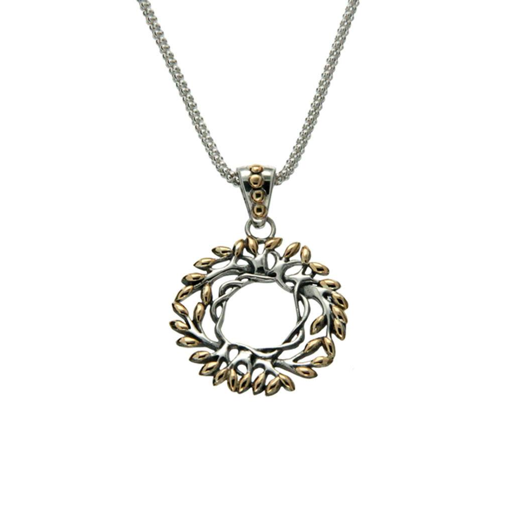 Pendant: Sterling 18KTree of Life Sm Round