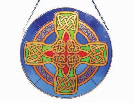 Clara Stained Glass: Celtic Cross Round Blue