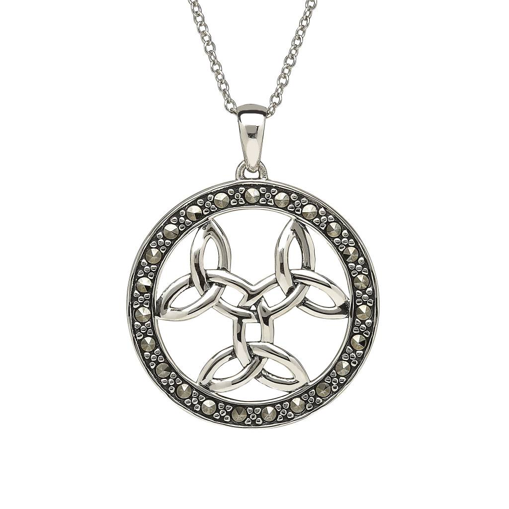 Anu Pendant: Sterling Silver Triple Trinity Marcasite