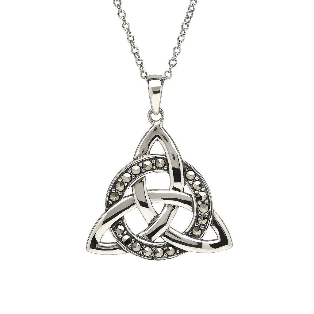 Anu Pendant: Sterling Silver Trinity Circle Marcasite
