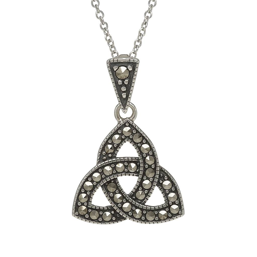 Anu Pendant: Sterling Silver Trinity Knot Marcasite