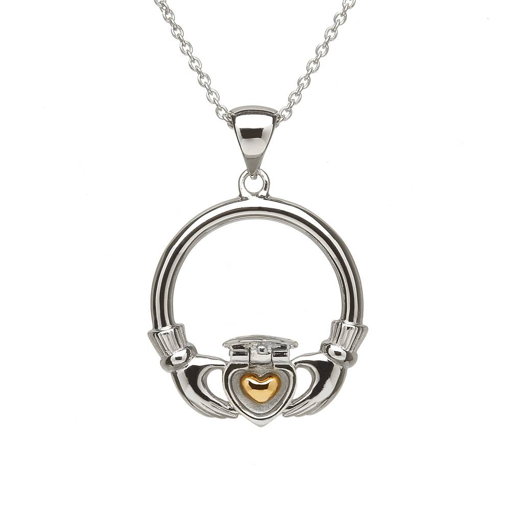 Anu Pendant: Sterling Silver Sweetheart Claddagh 14k