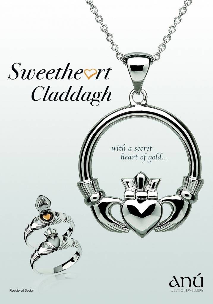 Pendant: Sterling Silver Sweetheart Claddagh 14k