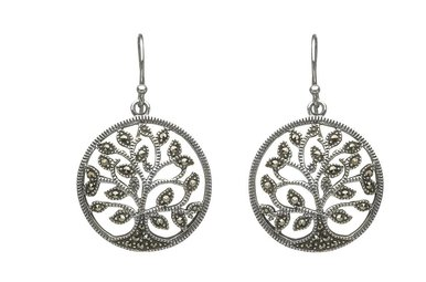 Earring: Sterling Silver Marcasite Tree of Life