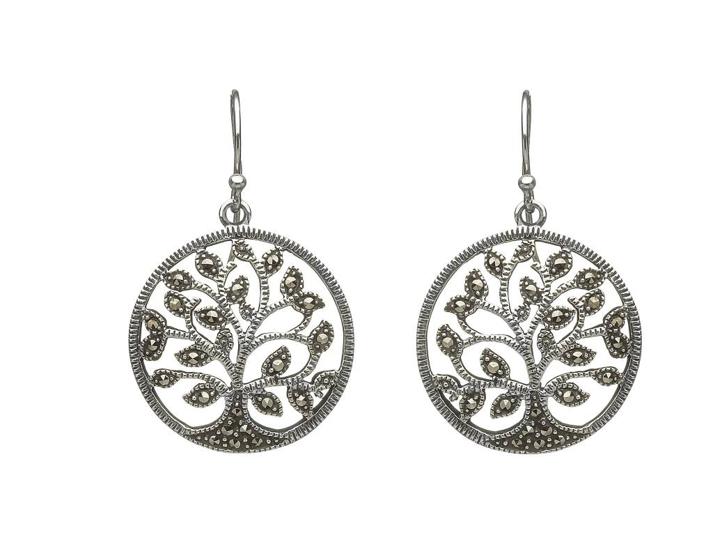 Anu Earring: Sterling Silver Marcasite Tree of Life