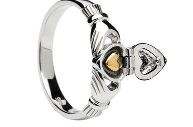 Ring: SS Claddagh with 14k Hidden Heart