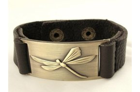 Bracelet: Dragonfly, Leather & Zinc Alloy
