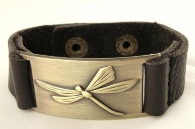 Bracelet: Dragonfly, Leather & Zinc Alloy