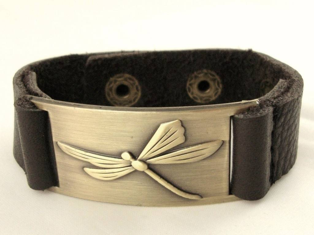 Leather Bracelet: Dragonfly, Leather & Zinc Alloy