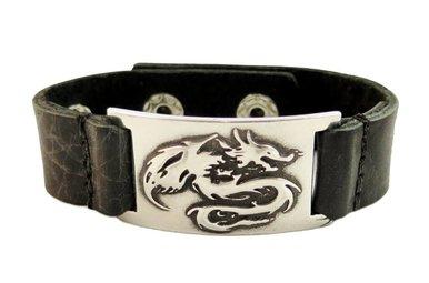 Bracelet: Dragon, Leather & Pewter
