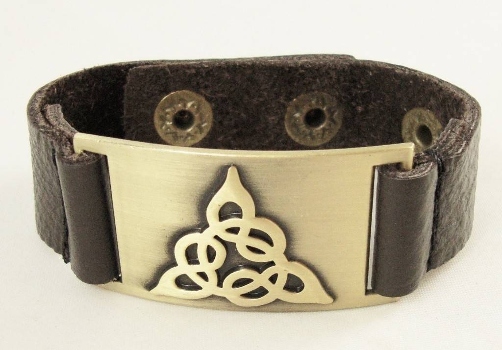 Leather Bracelet: Trinity, Leather & Zinc Alloy