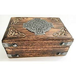 Jewelry Box: Carved with Metal Celtic Cross
