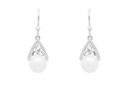 Earrings: SS Trinity with Pearl/CZ