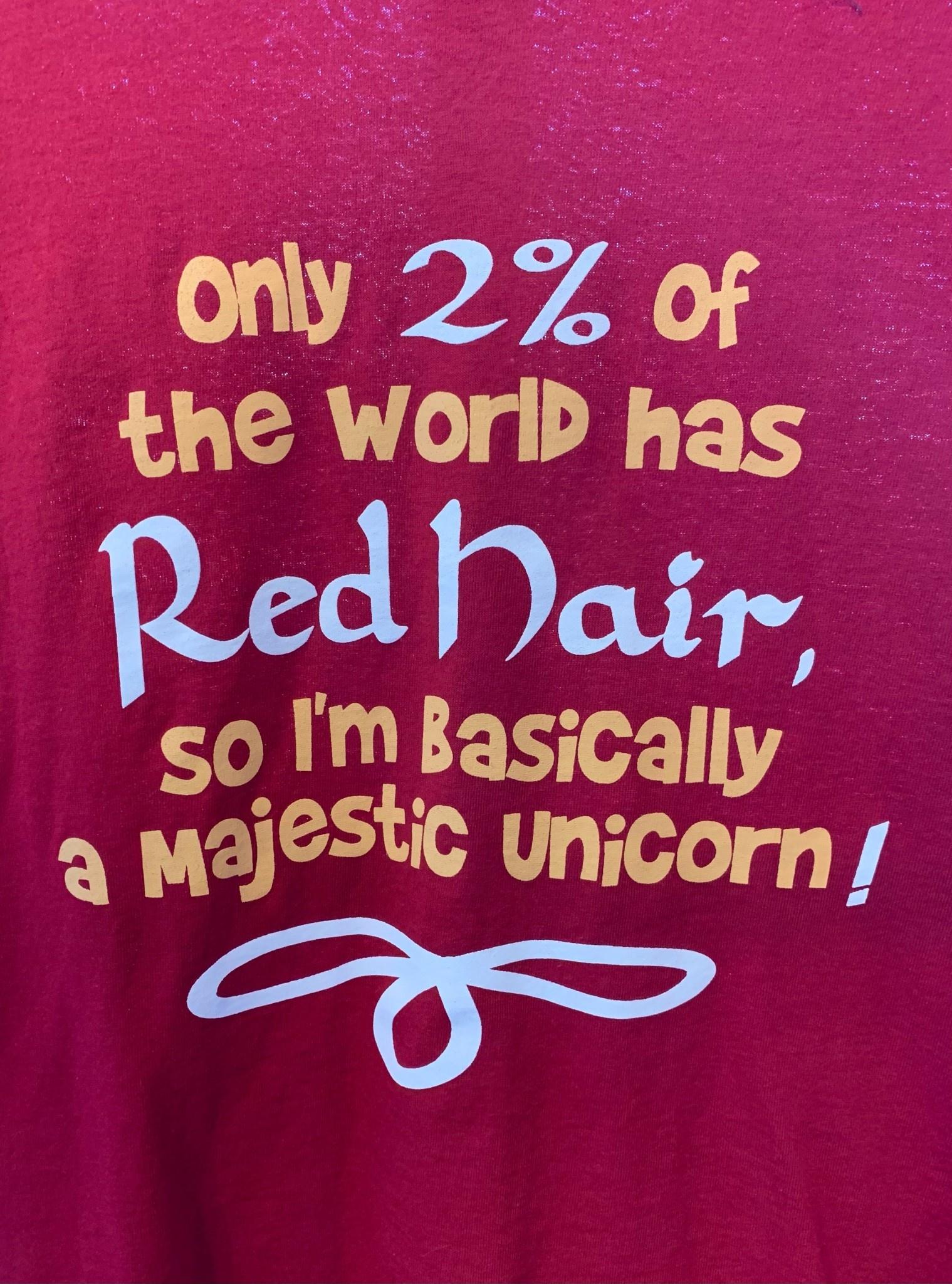 T Shirt: Red 2% Majestic Unicorn