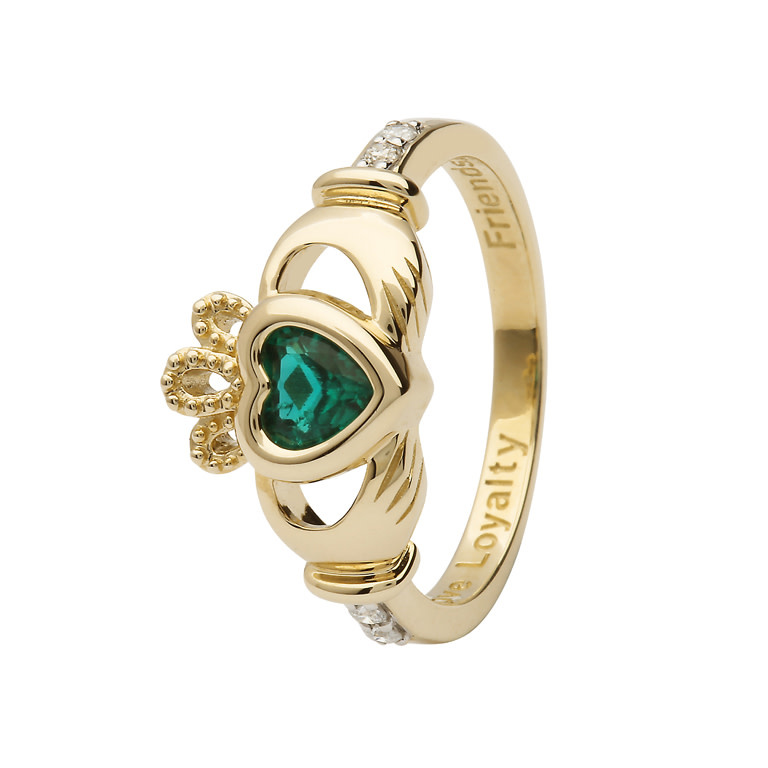 Ring: 14k Diamond (Emerald CZ) Birthstone .08