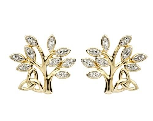 Earrings: 14K Diamond Tree of Life .10