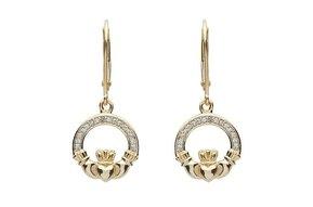 Earrings: 14K Diamond Claddagh