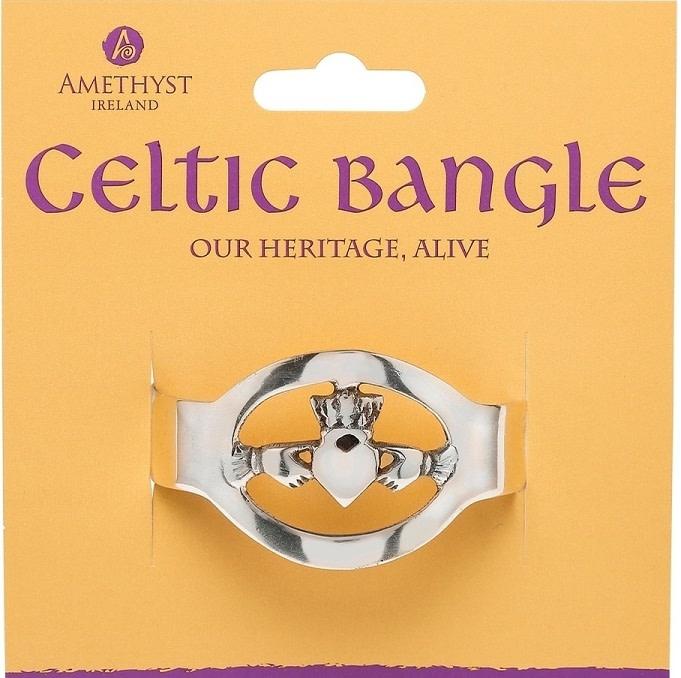 Leather Celtic Bangle: Claddagh