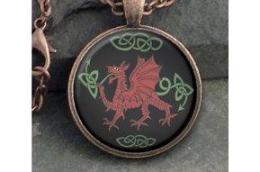 Pendant: Glass Dome Dragon Round