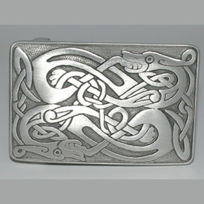 Glen Esk Buckle: Zoomorphic, Polished Pewter
