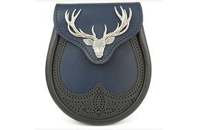 Sporran: Brogued Saddle Leather, Big Stag, Blue w/Black Trim