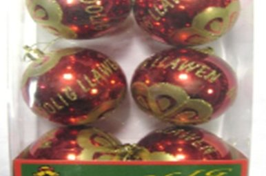 Ornament: Welsh Merry Christmas, 6 pk