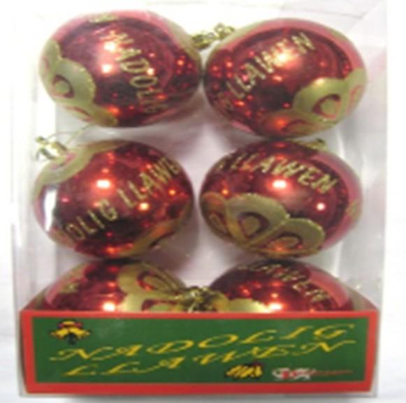 Ornament: Welsh Merry Christmas, 6 pk