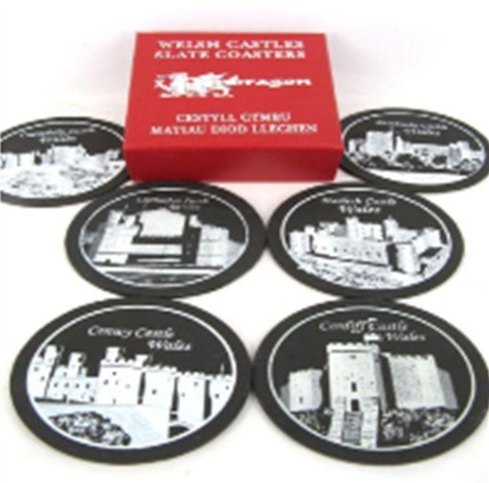 Pendragon Coaster: Welsh Castles, Slate 6pk