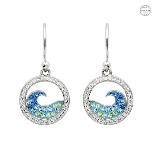 Earrings: SS Crystal Wave Drop