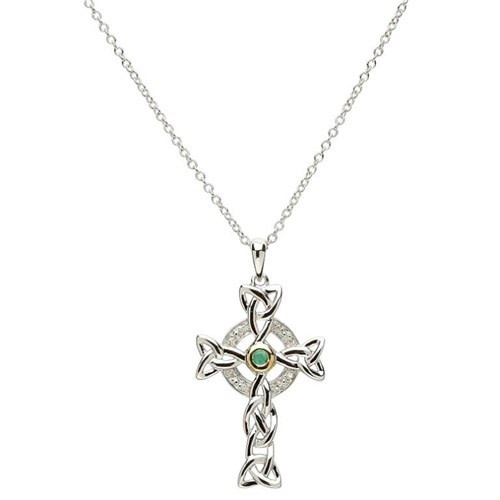 Pendant: SS Dia/Emerald Celtic Cross